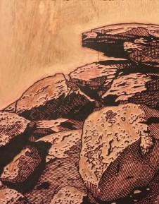In-process image of Balancing Boulders, White Tank Mountains. Close up of the carved block.