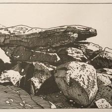 In-process image of Balancing Boulders, White Tank Mountains. Sketch executed during a hike in the White Tank Mountains. This drawing was slowly refined in preparation for translation into a woodcut.