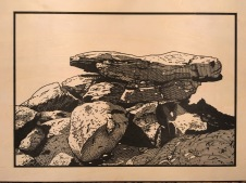 In-process image of Balancing Boulders, White Tank Mountains. The image has been reversed and drawn onto the woodblock.