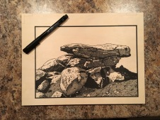 In-process image of Balancing Boulders, White Tank Mountains. Drawing is finished on the block!