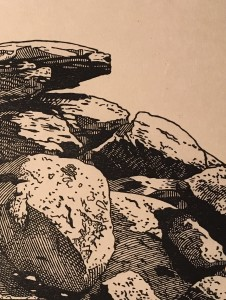 In-process image of Balancing Boulders, White Tank Mountains. This detail of the printed block will have to do until the ink dries and I can get a good scan.