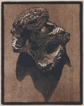 "Walnut no. I. chiaroscuro woodcut. 2016. 5"" x 4"""