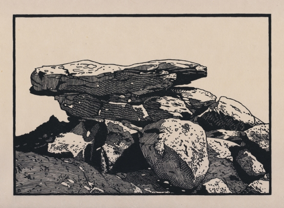 "Balancing Boulders, White Tank Mountains. woodcut. 2016. 7"" x 10"""