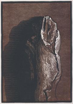 "Limb, Sycamore chiaroscuro woodcut. 2015. 10"" x 7"""